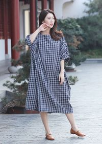Women's dress, Bat sleeves dress, Plaid dress, Dress handmade, Maxi Dresses, Cotton dress handmade, Summer linen Dresses
