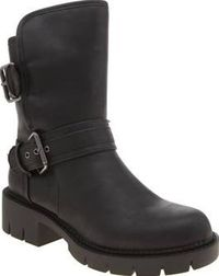 Rocket Dog Black Glenn Womens Boots Rocket Dog have your new season styling sorted, as their Glenn boot arrives. The faux-leather black upper features double buckle strap fastenings, lined with a faux-shearling for extra insulation on c http://www.compare...