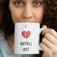 I love eating out and in bed with my white ceramic coffee mug $15.95