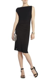Black Bcbg Adeline Asymmetrical Draped Short Dress