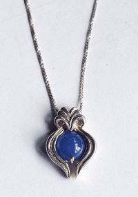 Round Blue Stone Pendant, For Her, Sterling Silver Necklace, Vintage Jewelry, Blue Stone Pendant,Vintage Necklace, Blue Stone Necklace $51.00