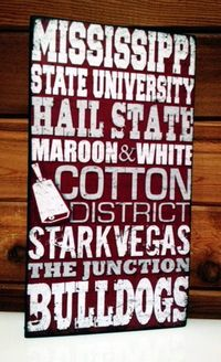 "Mississippi State University Wood Sign $25-Mississippi State Fan Wood sign-- Original handcrafted wood sign. 8'' x 14"" on 1.25"" solid rough wood. Sanded and hand painted black for a vintage look. Sawtooth hanger on back or it can stand a..."