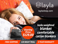 The comfortable cotton blankets by Layla Sleep give a calm and secure feeling when you sleep. The Layla weighted Blanket is a great option for people with anxiety and restlessness. It has a clean, soft, easily washable surface. The top of the blanket is p...