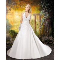 Simple A-line Halter Beading Lace Sweep/Brush Train Satin&Organza Wedding Dresses - Dressesular.com