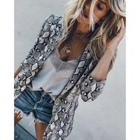 Women Vintage Snake Print Coats Turn down Collar Long Sleeve Coat Female Outerwear 2018 Fashion Casaco Feminine Jackets $54.37