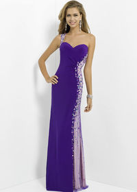 Purple Blue Strapless Beaded Jersey Long Prom Dress