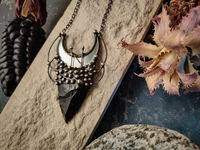 Pendant With Natural Stone - Obsidian,Hagalaz rune and Moon Mirror, Black Mirror - Witchcraft Jewelry - For Men and Women Shamanic Jewelry $44.00