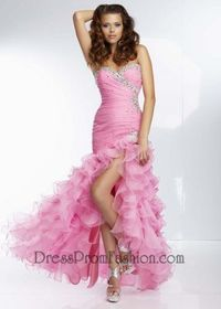 Pink Sequins Beaded High Low Prom Dress 2014