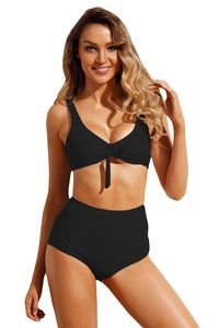 Black Tie Front Bikini Ruched High Waist Swimsuit $4.56