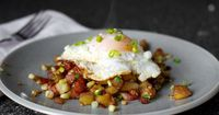Bacon Corn Hash : 1/2 pound thick-cut bacon, cut into small dice 1 pound red potatoes, scrubbed clean and diced into 1/4- to 1/2-inch cubes (about 3 to 3 1/4 cups) Salt and freshly ground black pepper 4 medium-large ears corn, kernels cut from the...