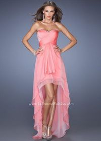 Coral Strapless Beaded Neckline High Front Low Back Prom Dress