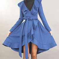 Love this colour!! Not a practical coat, but the colour catches my eye. Elegant blue woolen coat by xiaolizi on Etsy