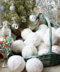 Snowballs made with a vintage bedspread and Mod Podge for Fabric