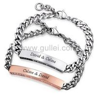 Matching Engraved Bracelets Couples Jewelry Gift for 2 by Gullei.com