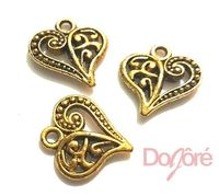 Pack of 10 Gold Love Heart Charms. 14mm x 13mm. Metal Pendants for Jewellery Making. Create Romantic and Valentine's Day Gift Jewellery £3.19