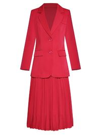 Long-Sleeve Lace Up Suit Top & Pleated Skirt $123.20