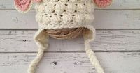 READY TO SHIP Crochet Baby Girl Lamb Hat size by NewYarnCreations