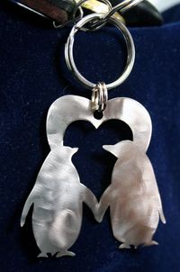 Stainless Steel Penguins Heart Charm Keychain Ornament - Valentines Day or Anniversary gift $16.99