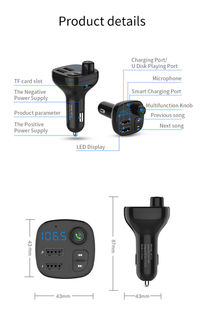 BT12 Car FM Transmitter Bluetooth Handsfree Car Kit Dual UBS 3.1A Car Charger