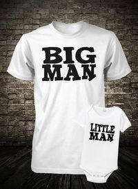 Father and Son Shirt Set Big Man Little Man Boys Kids Tee Youth Teen T Shirt Fathers Day S M L XL 6 Months 12 Months 18 Months 24 Months L.