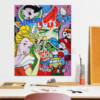 Pop Art Graffiti art Andy Warhol acrylic canvas painting Hand painted Wall Art Pictures for living Room home decor comic art caudros decor $189.00