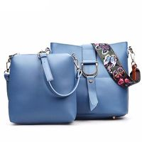 Lady Vogue Butterfly Strap 2 Piece Bucket Bag Messenger Bag PU Leather $44.98