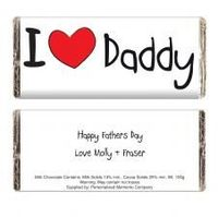 Personalised I Heart Daddy Chocolate Bar