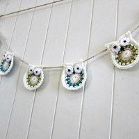 Owl Garland - crochet - bunting - by lolliandbean on madeit