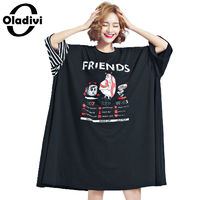 Oladivi Extra Large Plus Size Women Clothing 2017 Summer Fashion Aminal Letter Print Dress Lady Casual Long Top Tee Shirt Tunic