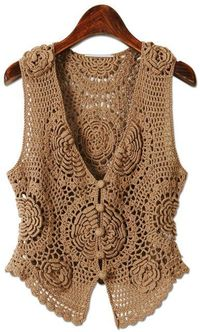 Floral Chocolate Vest free crochet graph pattern.