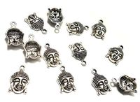 Pack of 10 Tibetan Silver Buddha Charms. 13mm x 16mm Meditation Bracelet Pendants. For Creating Religious Handmade Jewellery and Zen Crafts. £3.09