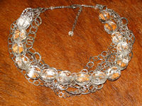 Sterling Silver 110 grams genuine Genuine Faceted Rock Crystal Quartz stone Necklace. $358.75