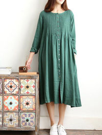 Spring loose long cotton and linen dresses women long Single breasted long shirt in green/ blue/ gray