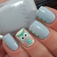 #nailartaug day 13- cutesy! Such a cute little owl! I used Zoya- Blu, Chinaglaze- White On White, and Essie- Mint Candy Apple, First Timer, Van D'Go & A Crewed