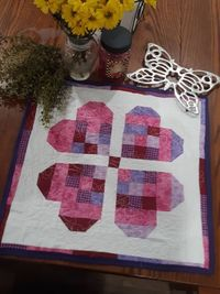 Heart Quilted Table Centerpiece-Square Table Runner-Quilted Table Decor- Valentines Day Table Accent Linen-Housewarming Gift- $50.00