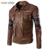 Multi-pocket Men Zipper Motorcycle Jacket Solid Coat R1107.20