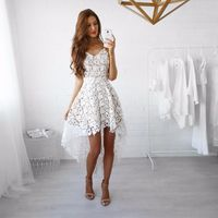 Women's Spaghetti Strap Sleeveless Sexy V-neck Lace Hollow Out Spring Summer Asymmetrical Dress $32.70