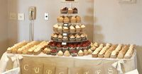 Do you want cake or cupcakes? This is a cute cupcake display. I can make that banner. DIY Rustic, Chic, Fall Wedding