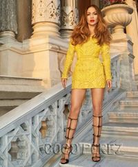 love this balmain dress and shoes but she looks a little stiff
