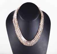 Art Deco Sterling Silver Necklace Double Row Round Link 925 Spiral Links 16 inch Choker Length Modernist Mid Century Vintage 1940s 1960s $320.00
