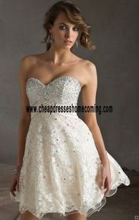 White Bright beaded 2016 Short Lace Pleated Gorgeous Prom Dress Mori Lee 9242 Sweetheart-Neck