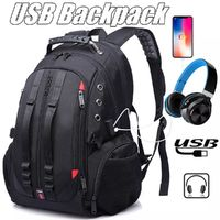 Men Large Capacity Backpack Schoolbag Laptop Travel Bag USB Port Headphones Hole Bag