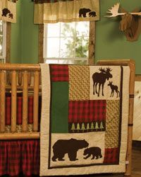 Northwoods 3pc Crib Set by - Outdoors Baby Bedding featuring bear and moose