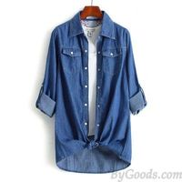 Leisure Denim Long Sleeve Shirt Lapel Double Pockets Loose Female Top | Women's Tops | Clothing