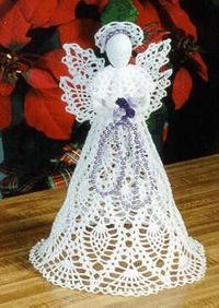 $$$... Pineapple Cascade Angel... top your tree or mantel with this gorgeous crochet pineapple angel. trimmed with a full pineapple skirt, matching wings & capelet trimmed with pearls. matching double pineapple wings compliment the extra full triple r...