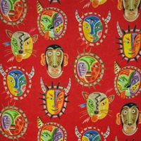 Clarence House Fabric African Masque Beige 34395-1