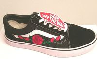 Vans Old Skool Red Rose-embroidered Skate Shoes/Sneakers/Trainers/Zapatillas $69.48