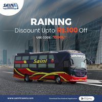 Online Bus Ticket Booking - Monsoon Offer Saini Travels  Hurray, Get Discount Upto Rs 100 Off on Online Bus Ticket Booking at Saini Travels.Use Code - COOL & Get upto 100 Off on Web & Mobile App. Terms and Conditions Apply. #onlinebusticketbook...