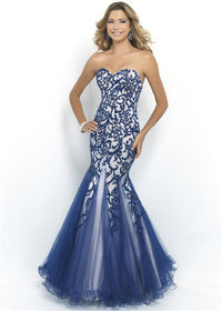 Indigo Long Strapless Beaded Mermaid Formal Gowm with Foral Embroidered