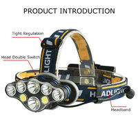 XANES 2606-8 3300LM 2*T6+4*XPE+2*COB 6 Modes Bicycle Headlamp 2*18650 Battery USB Rechargeable Interface